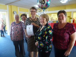 Receiving 40 Years Certificate at Celebration Tea Party